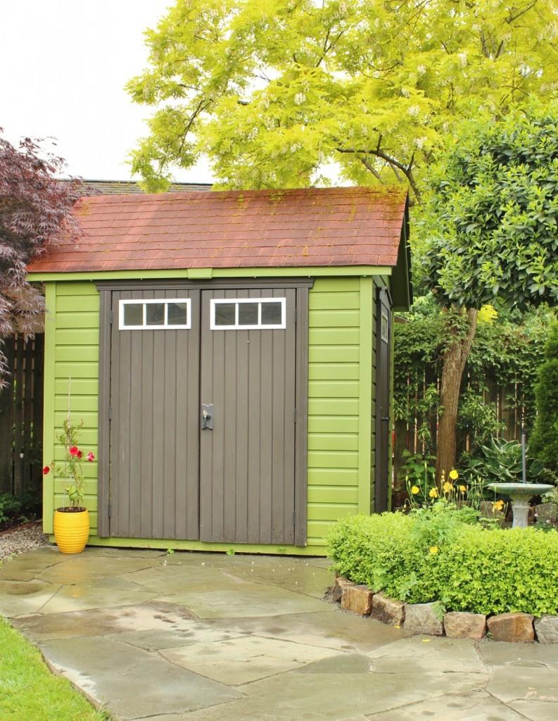 DIY garden edging near shed